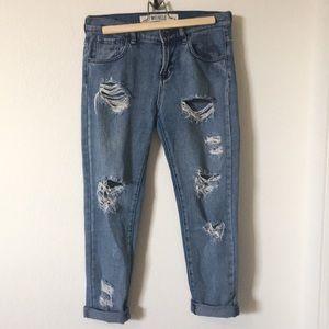 ( Brandy Melville } distressed jean pant